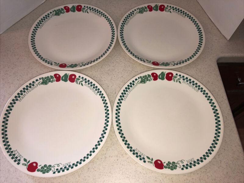 """CORELLE FARM FRESH HOMEMADE JAM JELLY 10 1/4"""" DINNER PLATE SET OF 4  BY CORNING"""