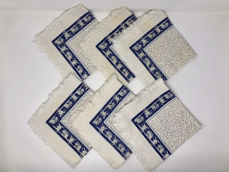 RARE DEDHAM POTTERY – THE POTTING SHED – CLOTH NAPKINS SET OF 6 - RABBIT DESIGN