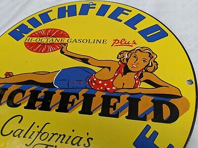 OLD VINTAGE 1950'S RICHFIELD RICHLUBE HI-OCTANE PORCELAIN ENAMEL GAS PUMP SIGN