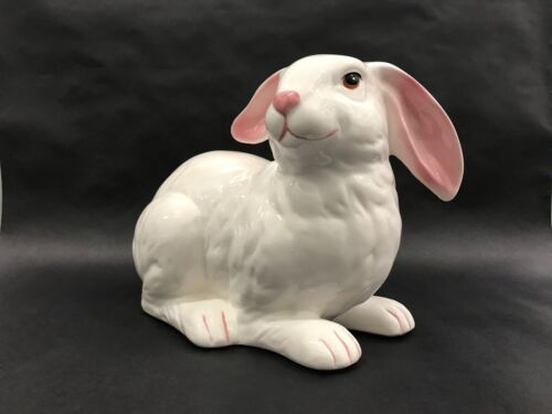 Large Ceramic White Rabbit Pink Ear Easter Bunny Garden Porch Statue - Life Like