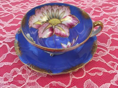 Vintage Royal Sealy China Japan Blue Three Legs Tea Cup Teacup & Saucer Set