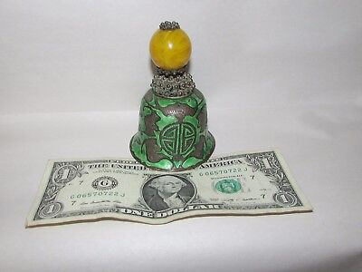 Old or Antique Chinese Enamel Bell with Peking Glass Finial