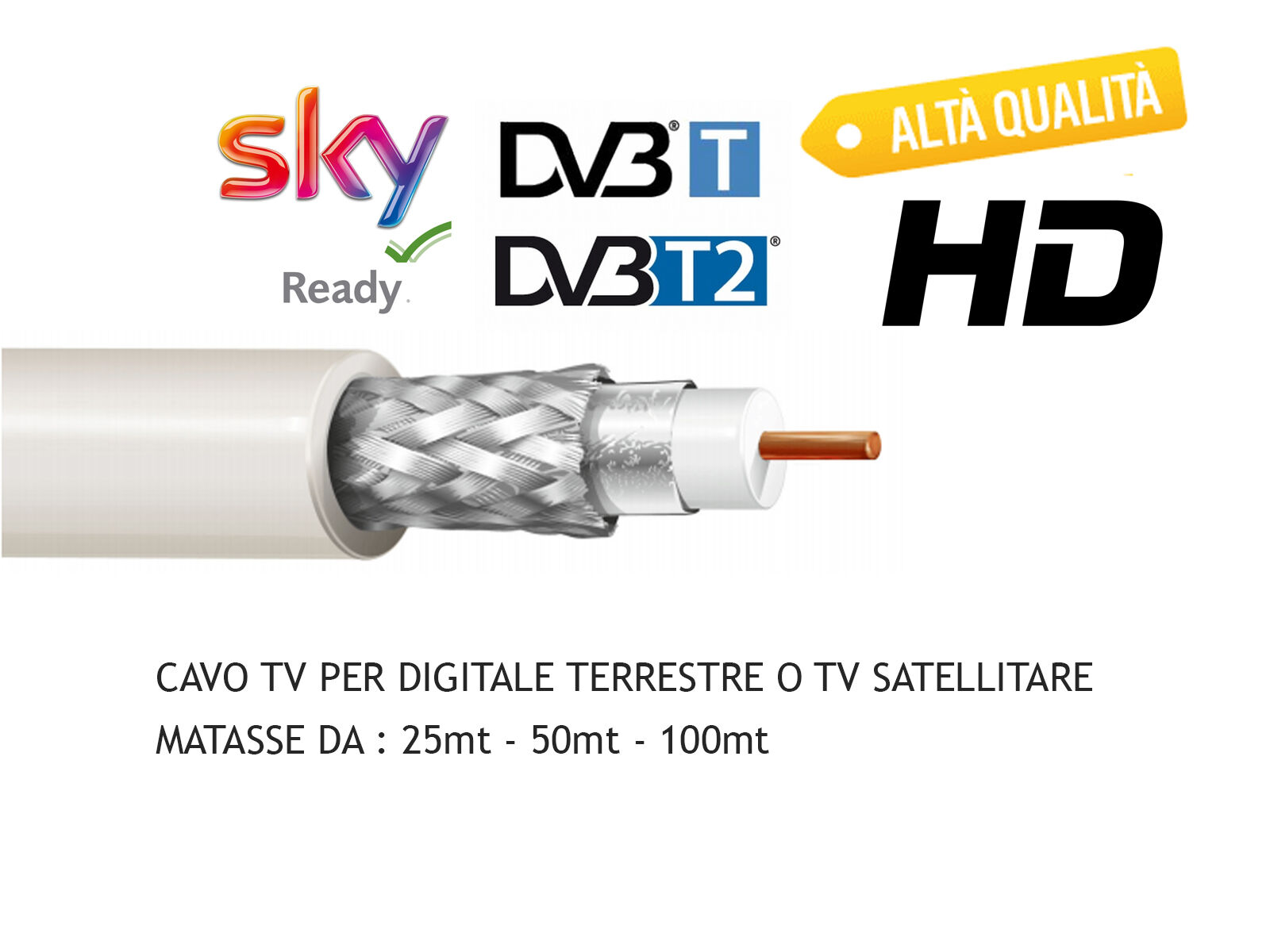 CAVO TV SAT COASSIALE PER ANTENNA TERRESTRE E SATELLITARE HD 5mm VARIE METRATURE