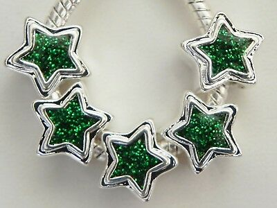 5 Green Sparkly Star Glitter Spacer Charms European 11 * 11 mm & 5 mm Hole - Glitter Hole