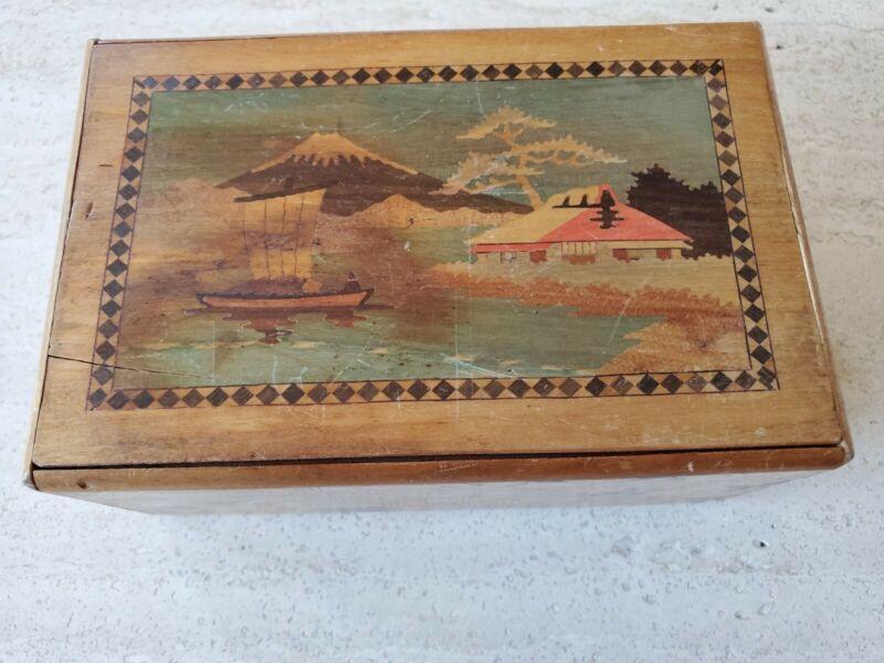 ANTIQUE / VINTAGE 1900-1940 JAPANESE HAND MADE INLAID PARQUET WOOD PUZZLE BOX