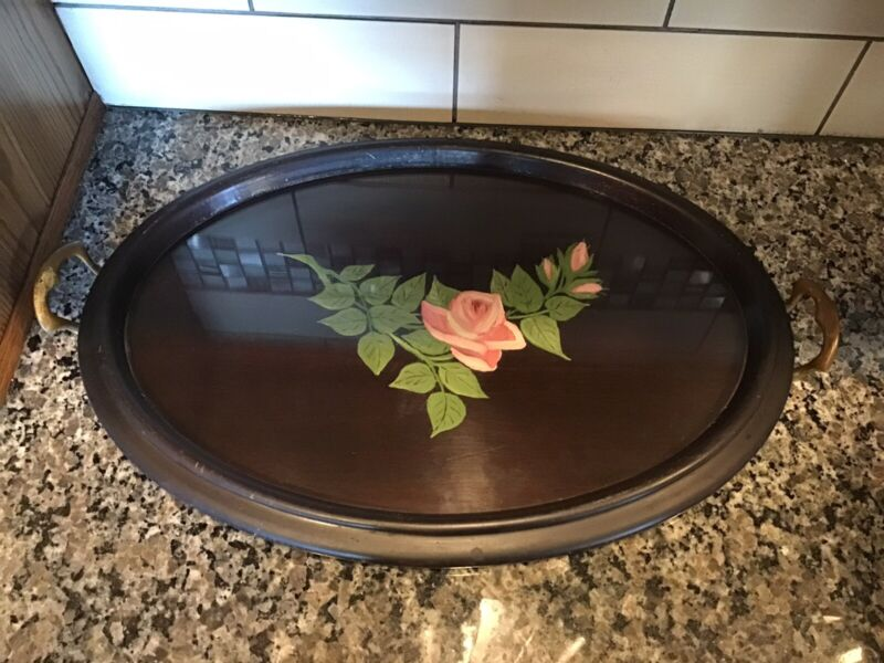"""ANTIQUE WOODEN GLASS TOP SERVING BREAKFAST TRAY BRASS HAND-PAINTED TOLEWARE 22"""""""