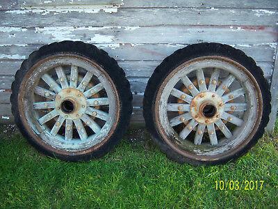 Huge Vintage Truck Wood Wheels Solid Rubber Tires Mack White IH Dodge Chevy Ford