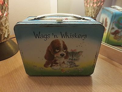 VINTAGE 1978 THERMOS WAGS 'N WHISKERS METAL LUNCH BOX NO THERMOS
