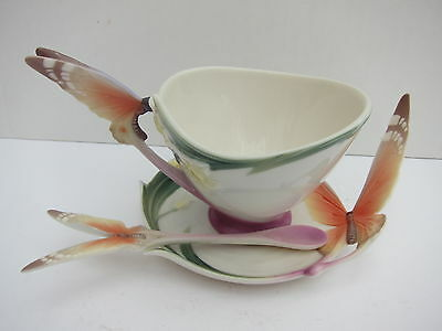 Franz porcelain Butterfly / Papillon cup ,saucer and spoon. Mint Condition.