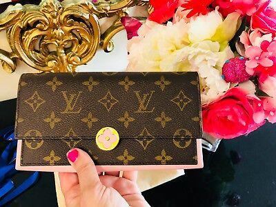 Louis Vuitton NEW Flower CLUTCH Ballerina Pink WALLET Monogram Flower Authentic