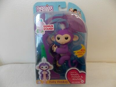 Fingerlings Mia Purple White Hair Interactive Baby Monkey