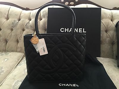 NWT 100% AUTHENTIC CHANEL BLACK CAVIAR LEATHER MEDALLION TOTE
