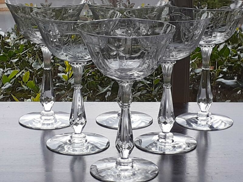 ANTIQUE Set of 6 CUT Etched CRYSTAL CHAMPAGNE Coupes COUPETTE GLASSES GLASS