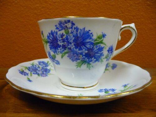 Vintage Colclough Bone China Cup And Saucer Blue Flowers Gold Trim