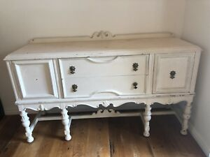 Beautiful antique sideboard white brass / gold handles
