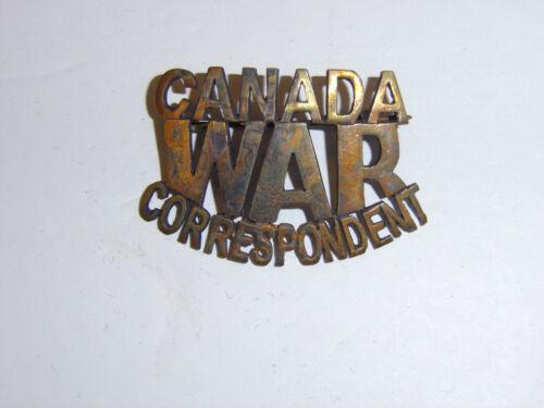 c0257s WW2 Civilian Canada War Correspondent Brass Badge R10D