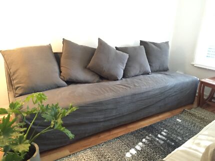 mcm house upholstered linen queen size joe bed - mosman - as new
