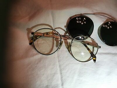 Vintage 1980's Dakota Smith Mens Metal Eyeglass Frames. 50 18 145 W/ Clip-on Sun