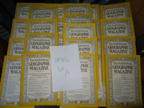 LOT A: 1930s Vintage Issues of National Geographic Magazine as Shown in Photos