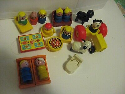 Vintage 1970s Fisher Price Furniture Lot Sheep Little People  Barbecue Grill ++