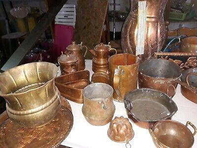 , contenitori, pentola oggetti e varie in rame antico