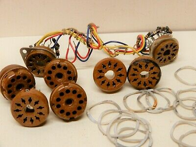 Amphenol Lot Of Vintage Eleven Pin Plugs Panel Mount With Hardware Brown Used