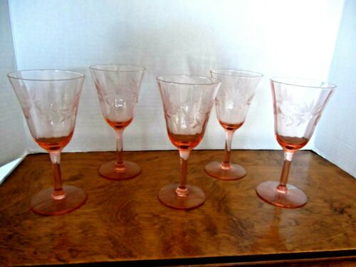 (5) PINK DEPRESSION WINE GLASSES - ELEGANT - FLORAL ETCHED - OPTIC RIBS