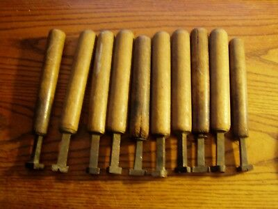 10--antique Bronze Or Brass Bookbinding Gilding Leather Tool Stamps 34 Letters