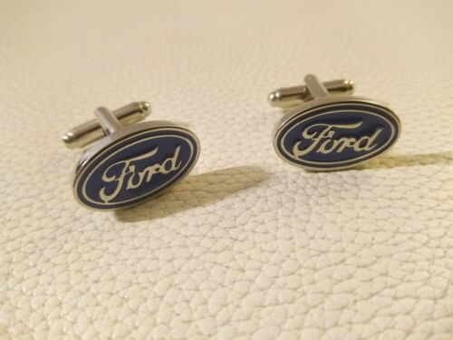 NEU Ford Manschettenknöpfe Manschetten Cufflinks Silber/Blau Logo Emblem