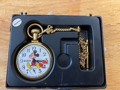 Disney Mickey Mouse Bradley Pocket Watch with Train Engraved Back ~ runs