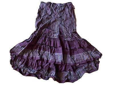 Per Una Purple Stripe Steampunk Layer dip Hem Maxi Long Skirt size 14