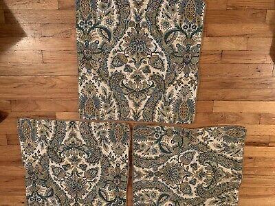 """Set of 3 Pottery Barn Blue Green Floral Cotton Blend Zipper Pillow Sham 22 x 22"""""""