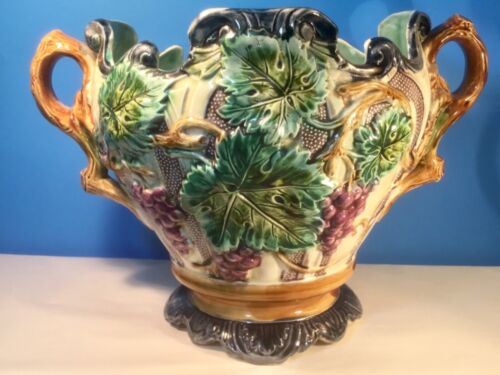 Antique French Majolica Grapes & Leaves Cache Pot Planter Jardiniere
