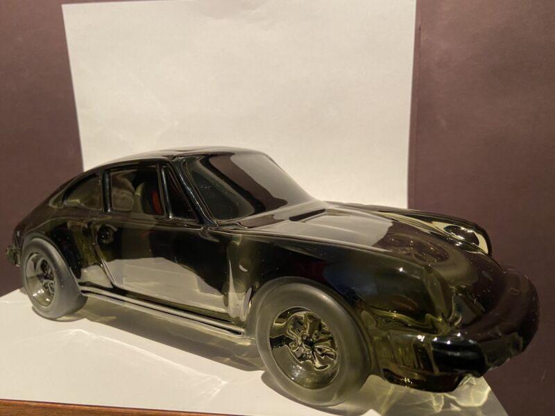 "Daum France Crystal Porsche 911 Carrera Black Car - One Of The Kind 13"" L Signed"