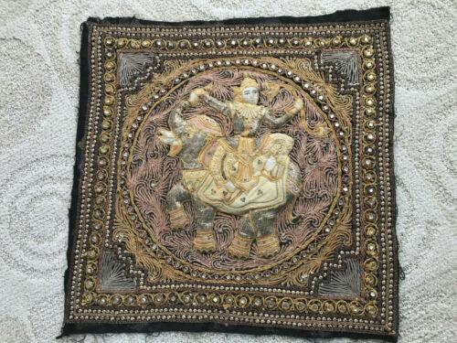 "Thai Burmese Kalaga Goddess On Elephant Vintage 20"" Beaded Tapestry Wall Hanging"