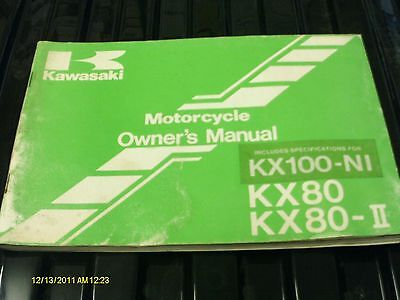 KAWASAKI KX100 KX80 OWNERS MANUAL HANDBOOK KX 80 100