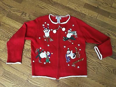 Heirloom Collectibles Ugly Red Snowman Skiing Sweater - Girls 10-12 / Womens S - Girls Ugly Sweater