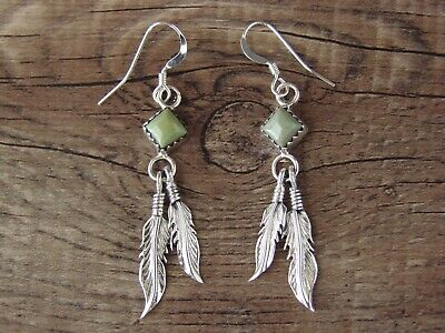 Navajo Indian Sterling Silver Green Turquoise Feather Dangle Earrings by Whit...