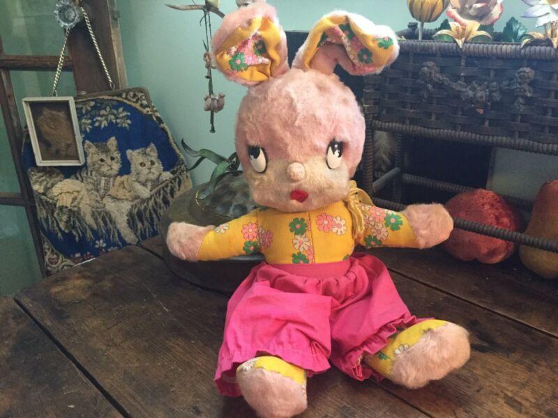 Vintage Gund Creation Stuffed PINK Girl Bunny Rabbit Easter Flower Power Retro