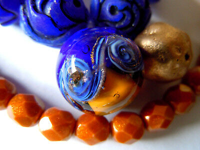 Edle Topaz&Kobalt Mare Round Murano-Perle m.Aventurina&Gold-Glanz  -14mm -