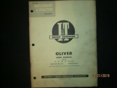 Oliver Series 60 70 80 90 99 4 Cyl Tractor Shop Service Manual I T