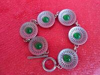 Emebellecedor,antiguo Pulsera__metal Con 6 Verde Perlas__jorge Jensen Dinamarca -  - ebay.es