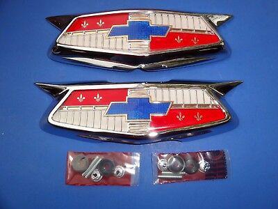 1954 CHEVROLET BEL AIR 210 150 HOOD & TRUNK EMBLEMS-NEW-TRIM PARTS-USA MADE  (Bel Air 210 150 Hood)