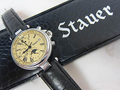 Stauer Automatic Stainless Steel Wrist Watch Leather Band. Skeleton Back!