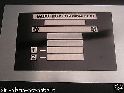 Talbot Sunbeam Hillman Chassis plate Samba Horizon ALL BLANK VIN CHASSIS PLATES