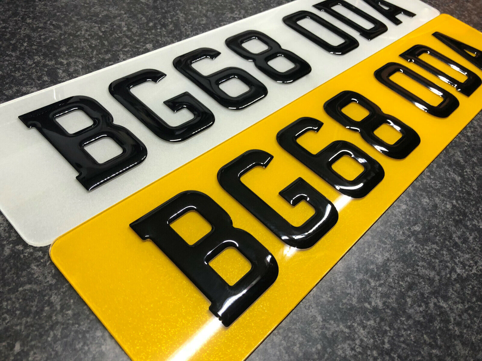 Car Parts - PAIR of 3D Black Domed Resin Raised Gel Car Number Plates Road Legal Front & Bac