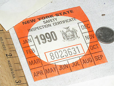 1 VINTAGE NOS 1990 NY N.Y.S NEW YORK STATE CAR AUTO SAFETY INSPECTION STICKER