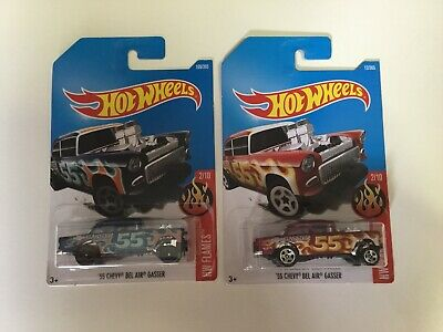 Lot of 2 Hotwheels Mainline 55 Chevy Bel Air Gasser. 2015 Hot Wheels