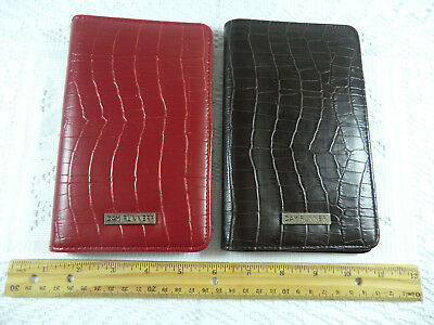 Set Of 2 Day Runner Portfolio Business Card Notepad Holders Red Brown