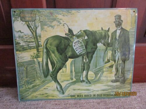 VINTAGE GREEN RIVER WHISKEY TIN ADVERTISING SIGN